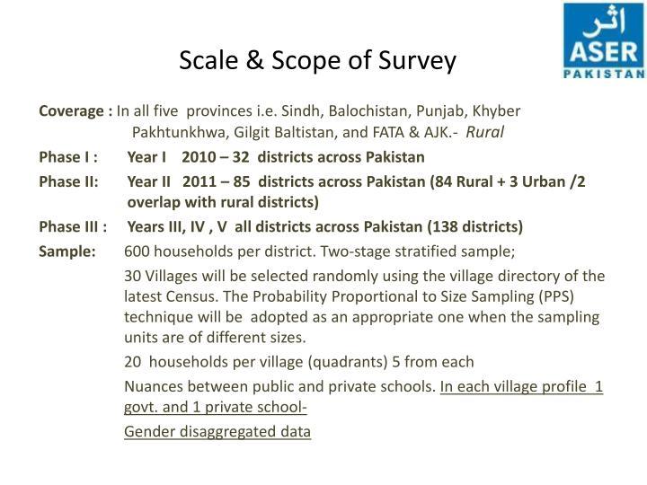 Scale scope of survey
