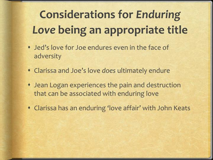 Considerations for enduring love being an appropriate title