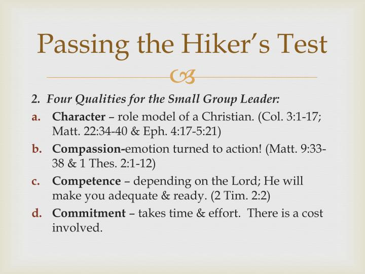 Passing the hiker s test