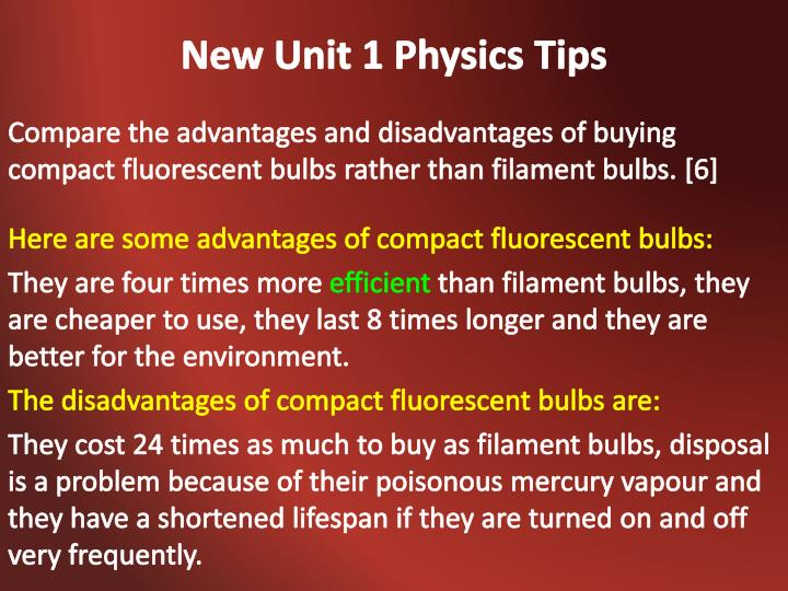 New Unit 1 Physics Tips