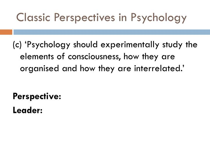 Classic Perspectives in Psychology