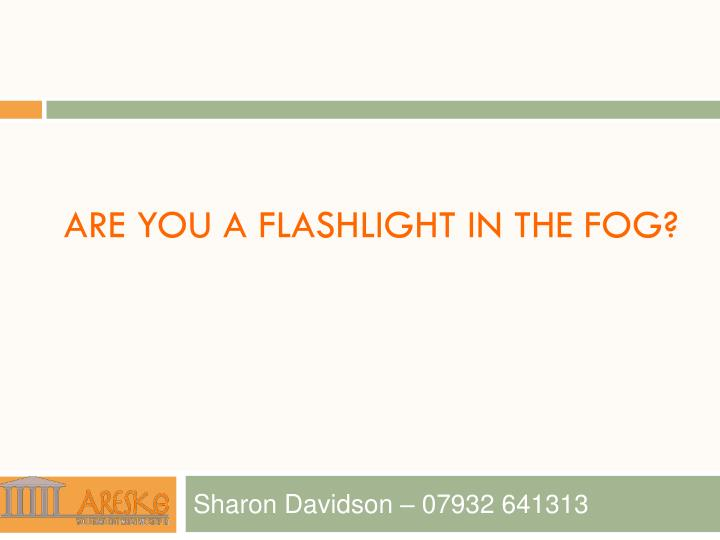 are you a flashlight in the fog n.