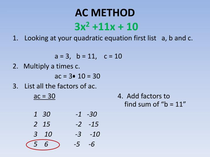 ppt ac method of factoring ax 2 bx c powerpoint presentation
