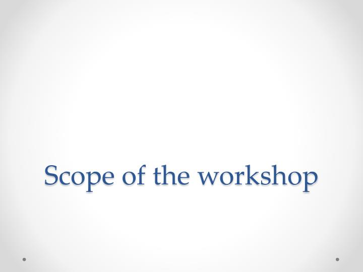 scope of the workshop n.