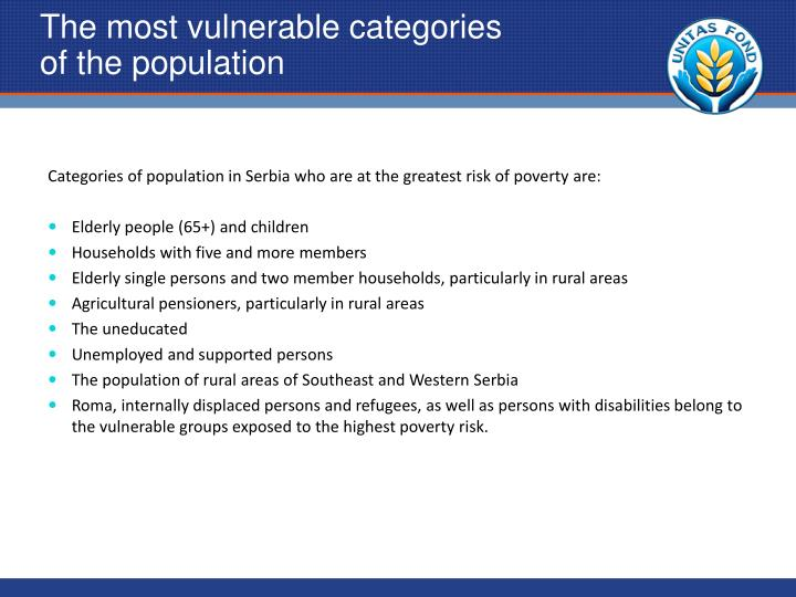 The most vulnerable categories