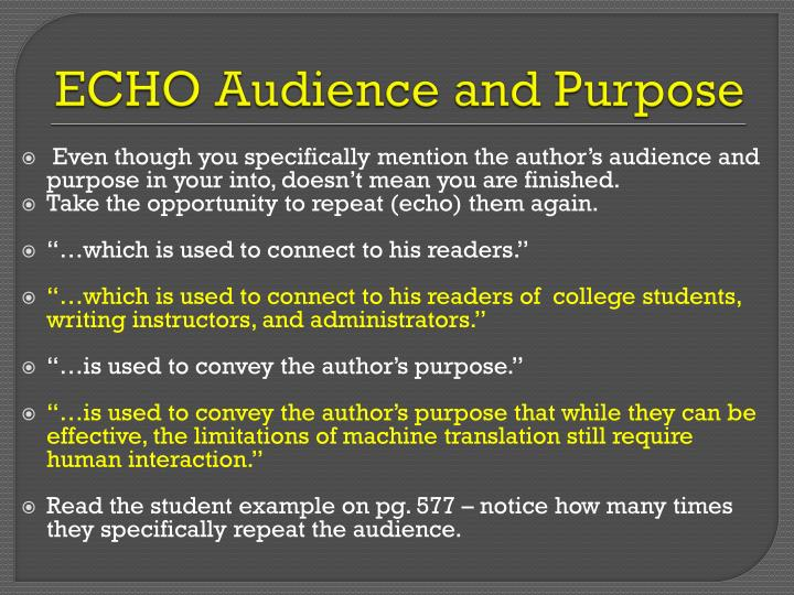 ECHO Audience and Purpose