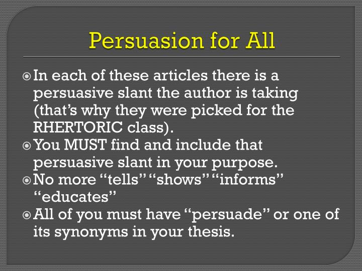 Persuasion for All
