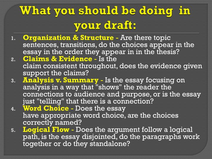What you should be doing  in your draft: