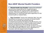 non mhp mental health providers