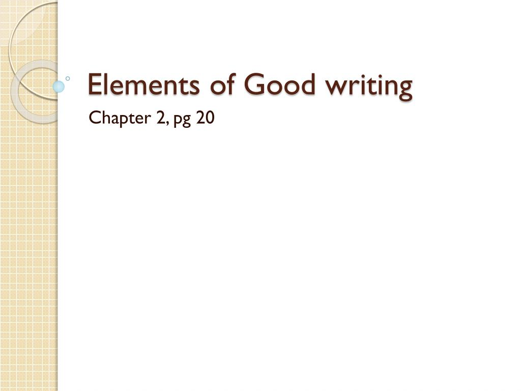 Elements Of Good Writing N