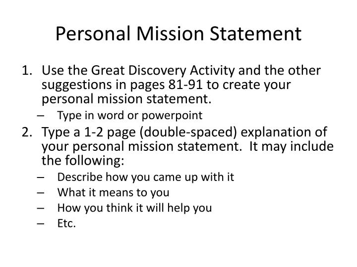 your personal mission statement
