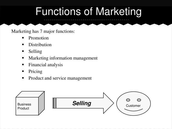 marketing funtions These marketing functions clearly indicate the potential of the internet to be a valuable component of the company's imc program the company should decide on how to integrate the internet with its.