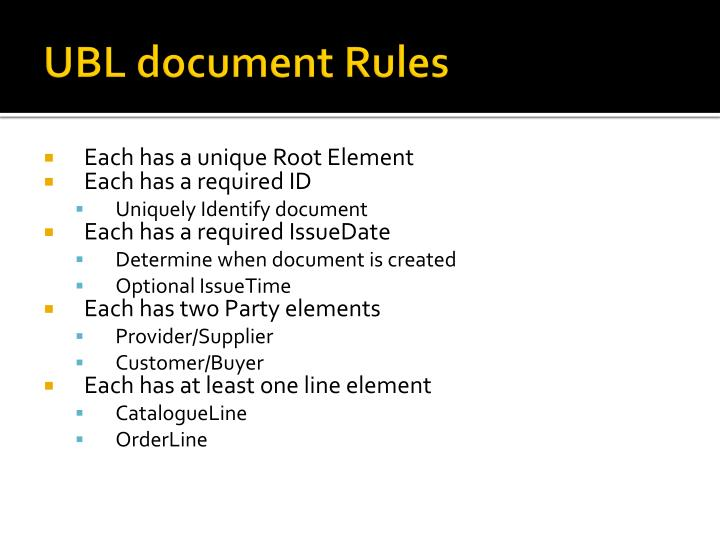 UBL document Rules