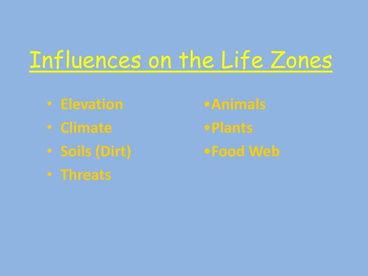 Influences on the life zones