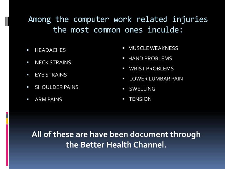 Among the computer work related injuries the most common ones inculde