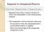 expected vs unexpected returns