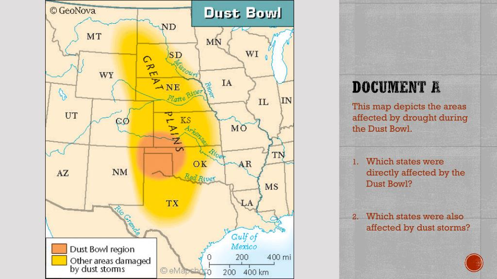 PPT - The Dust Bowl PowerPoint Presentation - ID:2805294 Dust Bowl States Map on