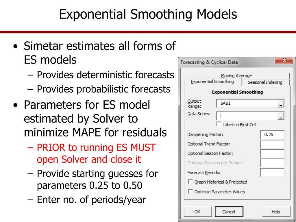PPT - Cycles and Exponential Smoothing Models PowerPoint