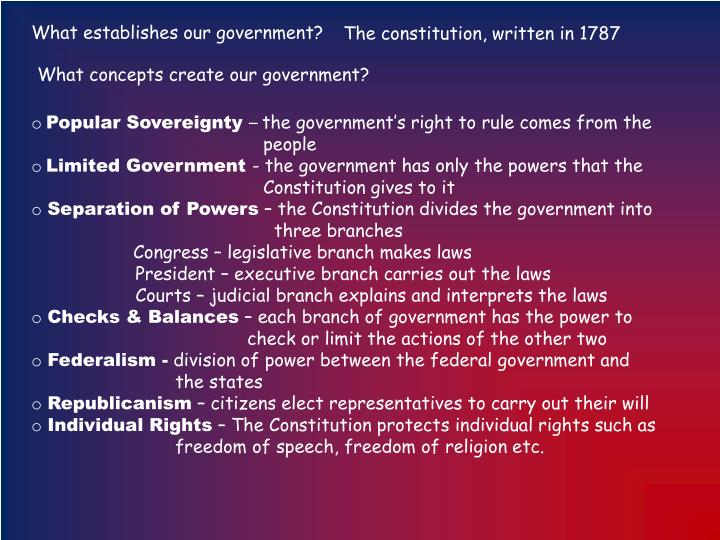 What establishes our government?