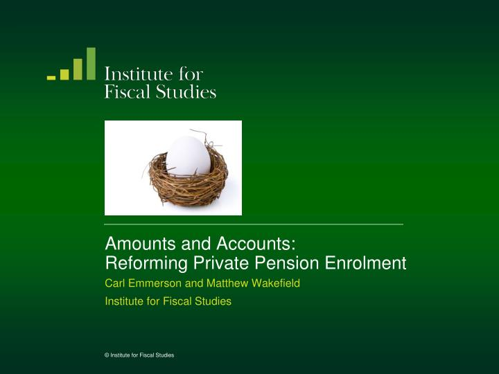 Amounts and Accounts: