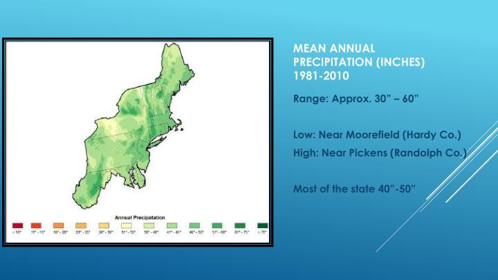 Mean annual precipitation inches 1981 2010