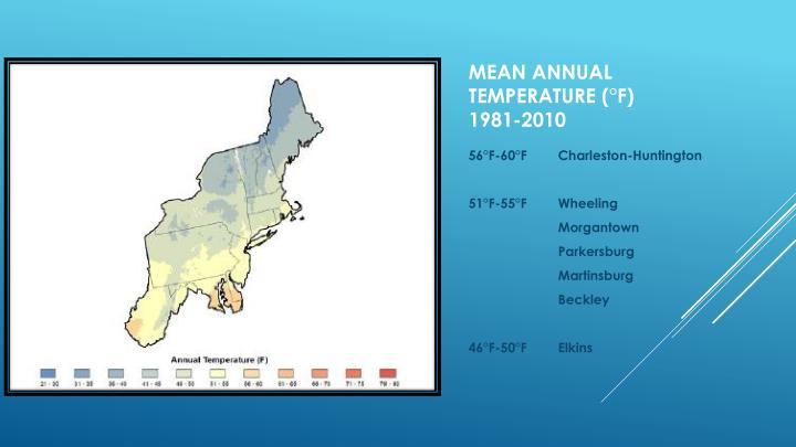 Mean annual temperature f 1981 2010