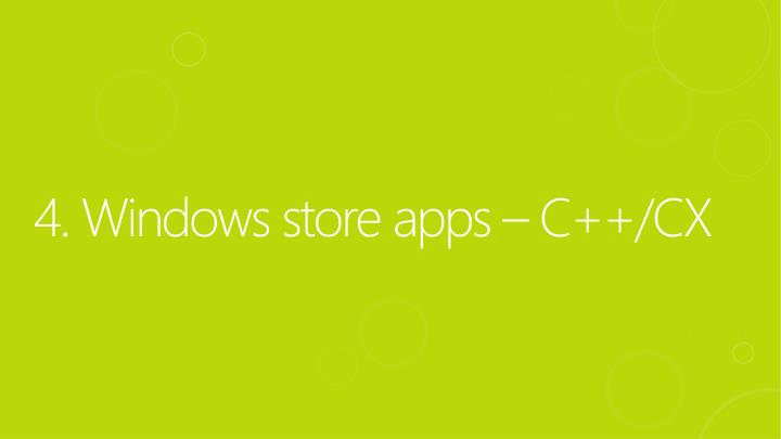 4. Windows store apps – C++/CX