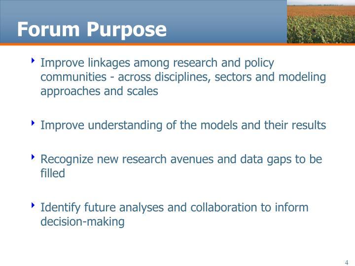 Forum Purpose