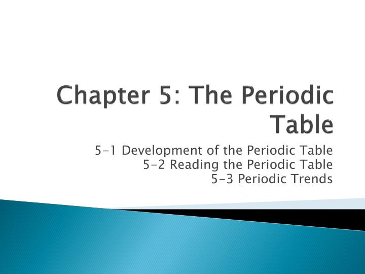 chapter 5 the periodic table n.