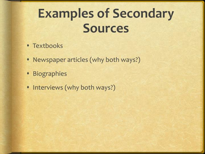 Examples of Secondary Sources