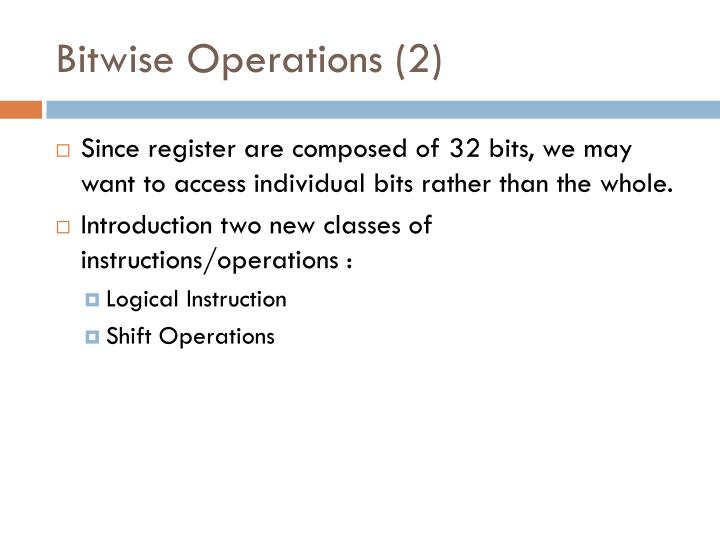Bitwise Operations (2)