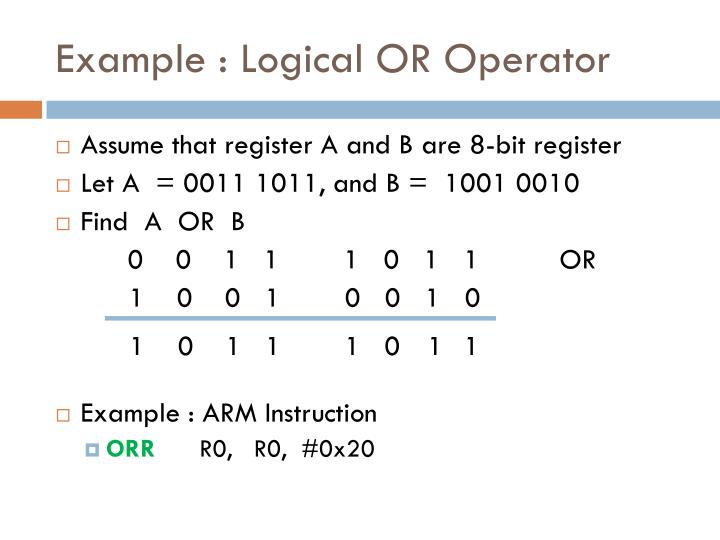 Example : Logical OR Operator