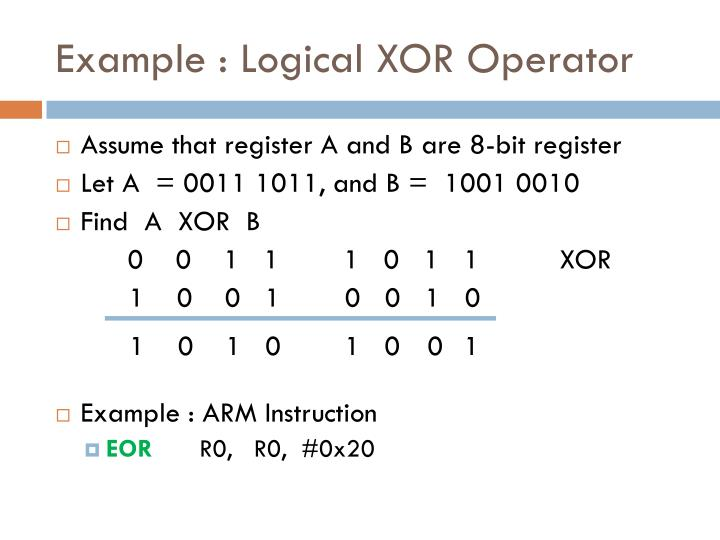Example : Logical XOR Operator