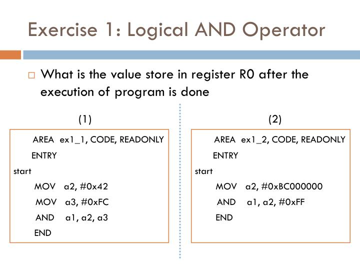 Exercise 1: Logical AND Operator