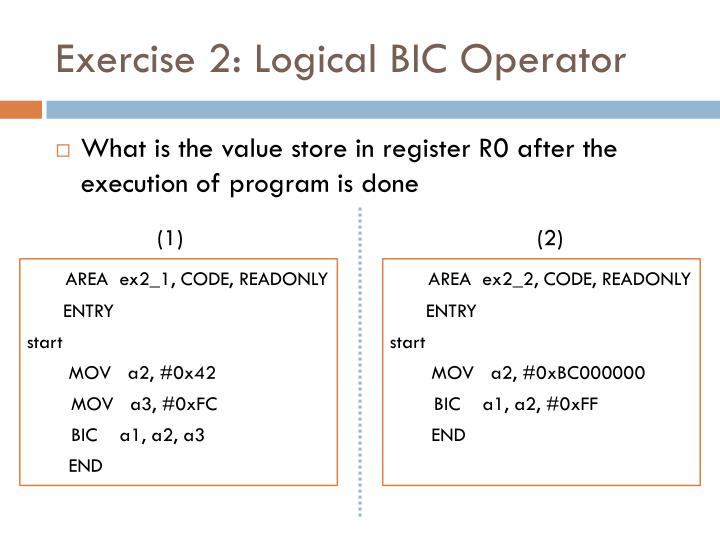 Exercise 2: Logical BIC Operator