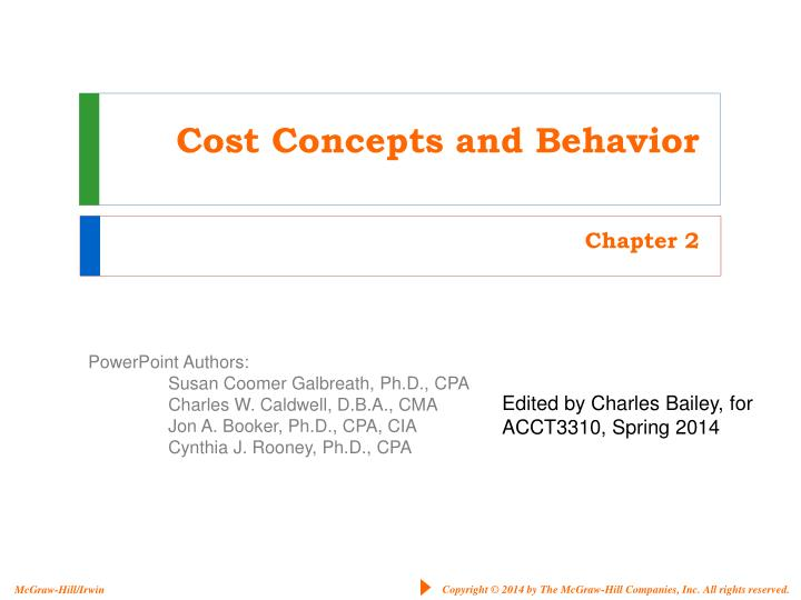 cost concepts and behavior n.