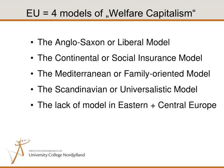 "EU = 4 models of ""Welfare Capitalism"""