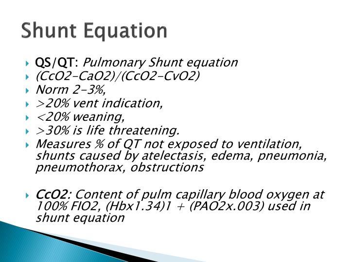 Shunt Equation