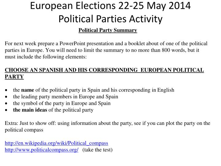 PPT - European Elections 22-25 May 2014 Political Parties