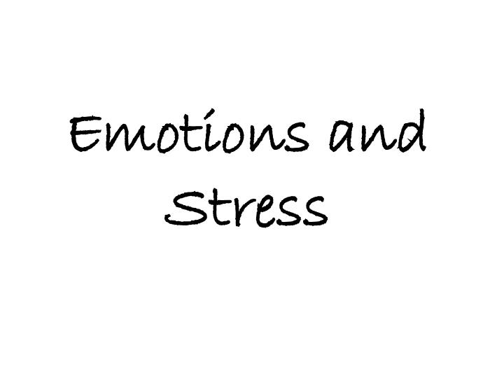 emotions and stress n.