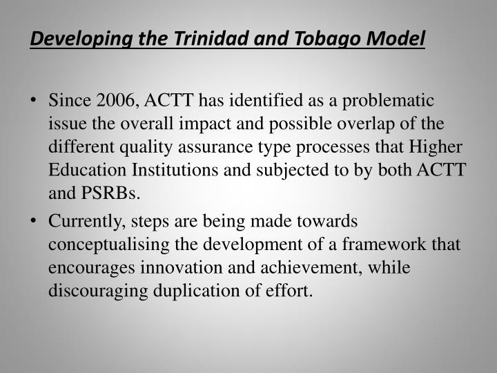 Developing the Trinidad and Tobago