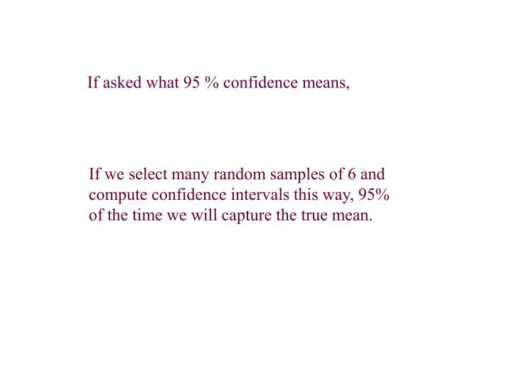 If asked what 95 % confidence means,