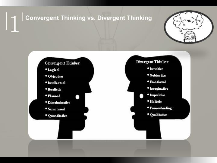 compare and contrast convergent and divergent thinking essay We've rounded up 50 intriguing compare and contrast essay topics to fuel students' curiosity and analytical skills compare and contrast the experience of being famous but friendless with the experience of being well-loved but unknown by anyone other than your friends and family.