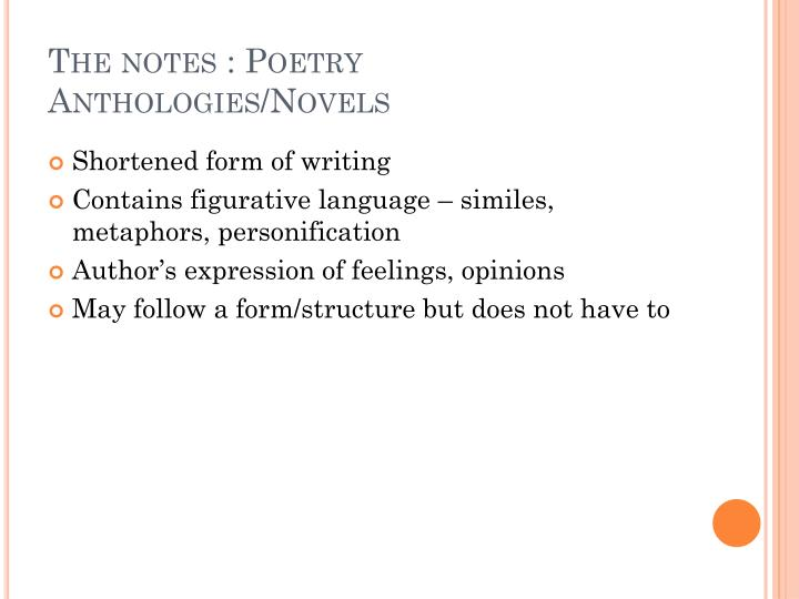 The notes : Poetry Anthologies/Novels