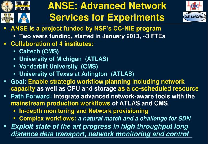 Anse advanced network services for experiments