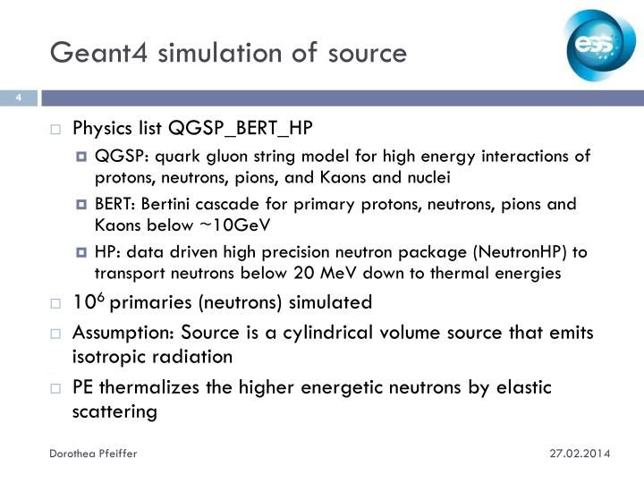 Geant4 simulation of source