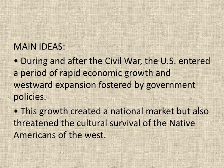MAIN IDEAS: