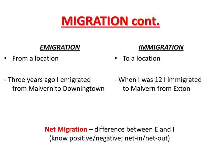 Migration cont