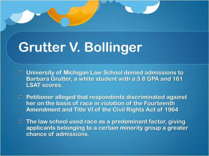 gratz v bollinger Npr's nina totenberg reports on the decision in grutter v bollinger and gratz v   bollinger first filed in us district court, eastern division of michigan.