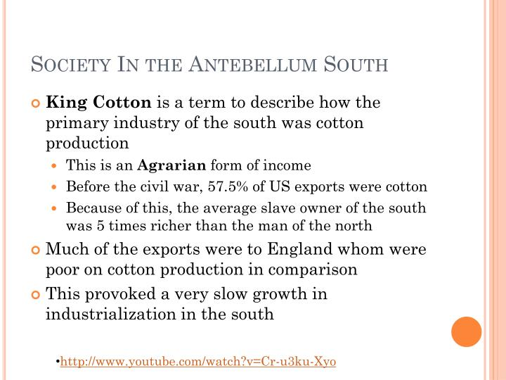 Society In the Antebellum South